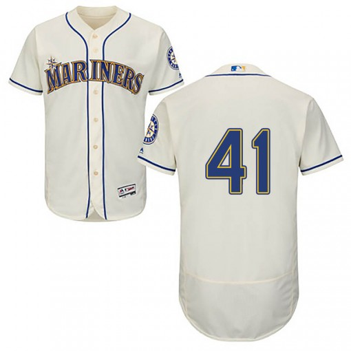Youth Seattle Mariners #41 Mike Wright Jr. Authentic Cream Flex Base Alternate Collection Jersey