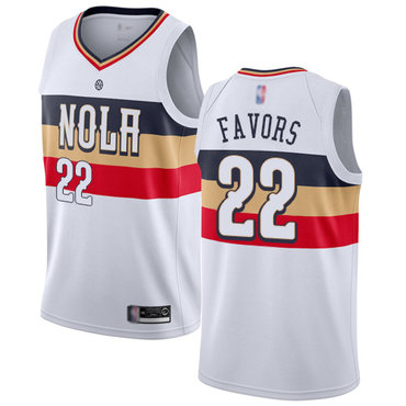 Pelicans #22 Derrick Favors White Basketball Swingman Earned Edition Jersey