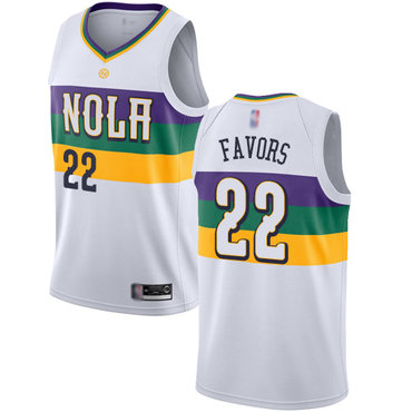 Pelicans #22 Derrick Favors White Basketball Swingman City Edition 2018-19 Jersey