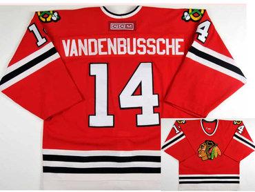 Men's Chicago Blackhawks #14 Ryan Vandenbussche CCM Throwback NHL Hockey Jersey