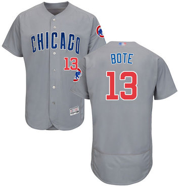 Cubs #13 David Bote Grey Flexbase Authentic Collection Road Stitched Baseball Jersey