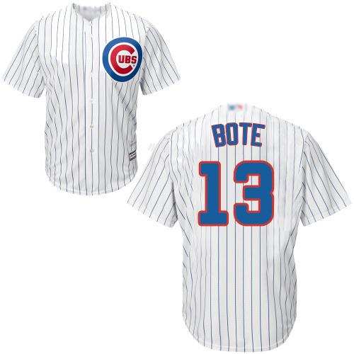 Cubs #13 David Bote White Strip New Cool Base Stitched Baseball Jersey