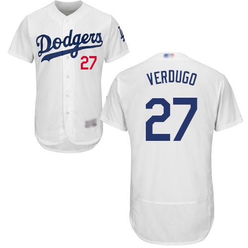 Dodgers #27 Alex Verdugo White Flexbase Authentic Collection Stitched Baseball Jersey