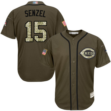 Reds #15 Nick Senzel Green Salute to Service Stitched Baseball Jersey