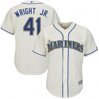 Men's Authentic Seattle Mariners #41 Mike Wright Jr. Majestic Cool Base Alternate Cream Jersey