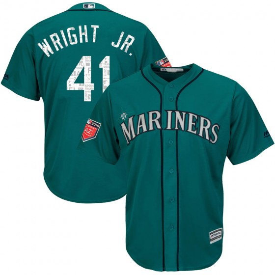 Men's Authentic Seattle Mariners #41 Mike Wright Jr. Majestic Cool Base 2018 Spring Training Aqua Jersey