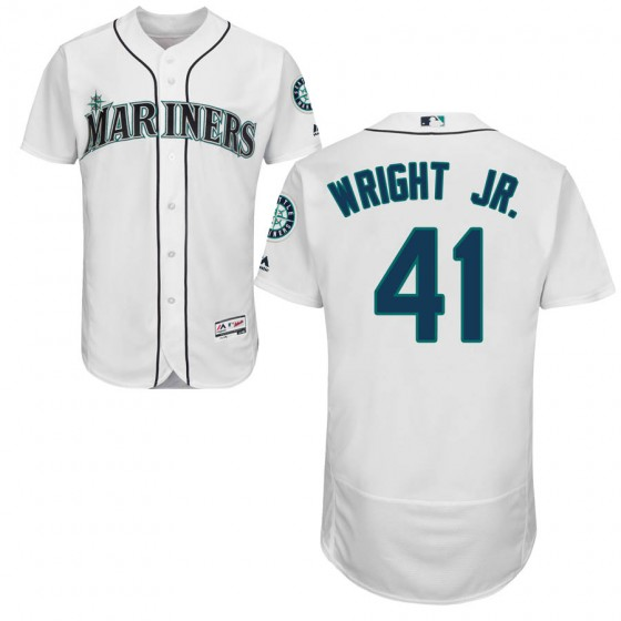 Men's Authentic Seattle Mariners #41 Mike Wright Jr. Majestic Flex Base Home Collection White Jersey