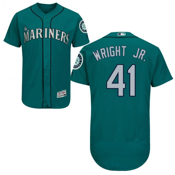 Men's Authentic Seattle Mariners #41 Mike Wright Jr. Majestic Flex Base Alternate Collection Green Jersey