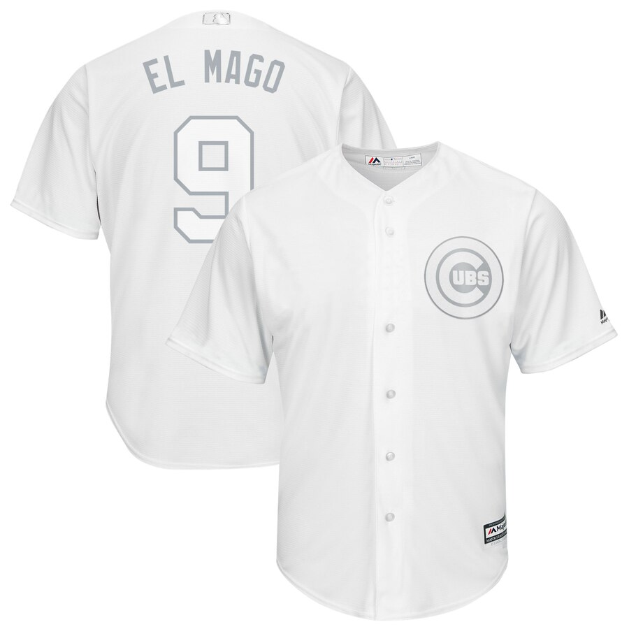 Men's Chicago Cubs 9 Javier Baez El Mago White 2019 Players' Weekend Player Jersey