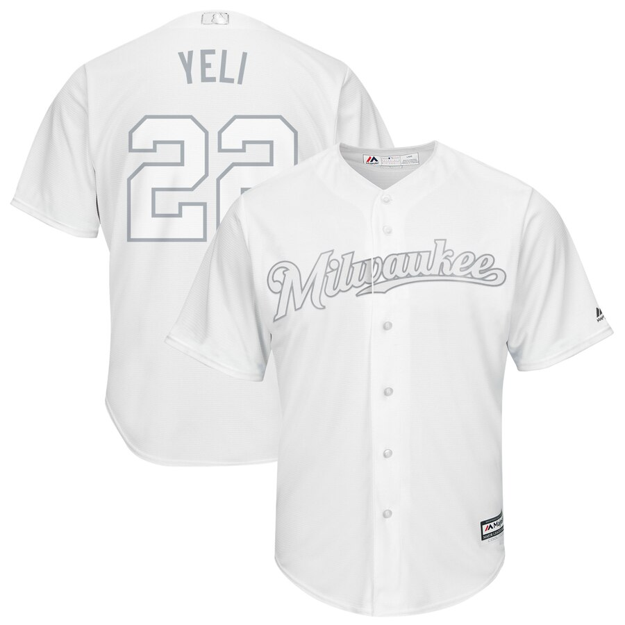 Men's Milwaukee Brewers 22 Christian Yelich Yeli White 2019 Players' Weekend Player Jersey