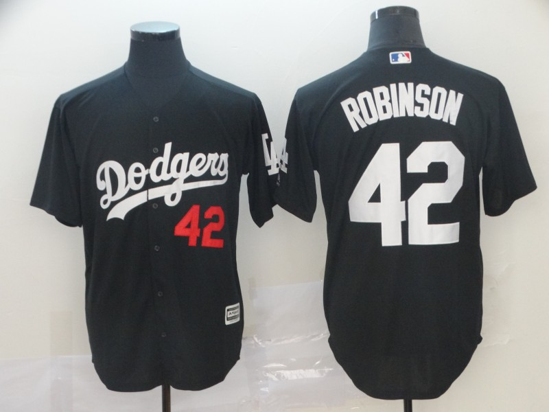 Men's Los Angeles Dodgers 42 Jackie Robinson Black Turn Back The Clock Cool Base Jersey