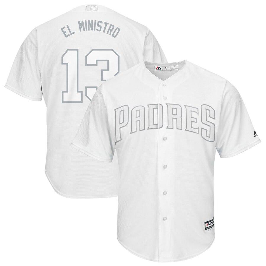 Men's San Diego Padres 13 Manny Machado El Ministro White 2019 Players' Weekend Player Jersey
