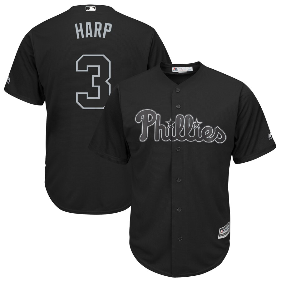 Men's Philadelphia Phillies 3 Bryce Harper Harp Black 2019 Players' Weekend Player Jersey