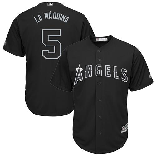 Angels of Anaheim #5 Albert Pujols Black La Maquina Players Weekend Cool Base Stitched Baseball Jersey