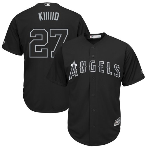 Angels of Anaheim #27 Mike Trout Black Kiiiiid Players Weekend Cool Base Stitched Baseball Jersey