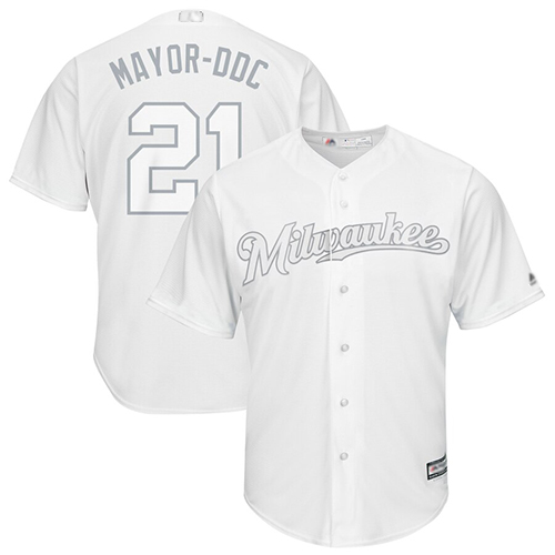 Brewers #21 Travis Shaw White Mayor-DDC Players Weekend Cool Base Stitched Baseball Jersey