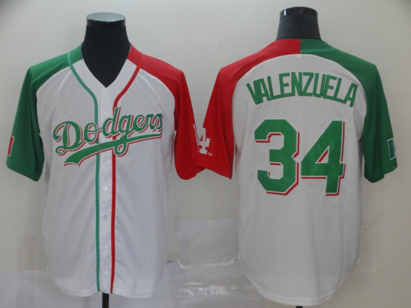 Dodgers #34 Fernando Valenzuela White Red Green Split Cool Base Stitched Baseball Jersey