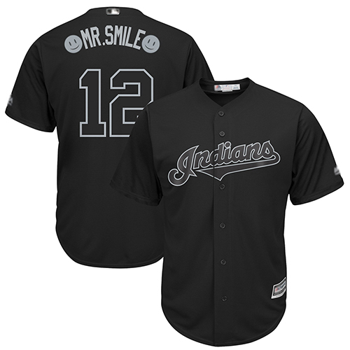 Indians #12 Francisco Lindor Black Mr. Smile Players Weekend Cool Base Stitched Baseball Jersey