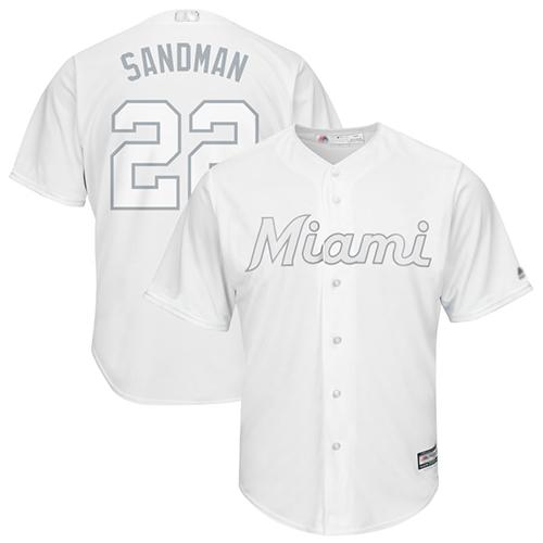 marlins #22 Sandy Alcantara White Sandman Players Weekend Cool Base Stitched Baseball Jersey