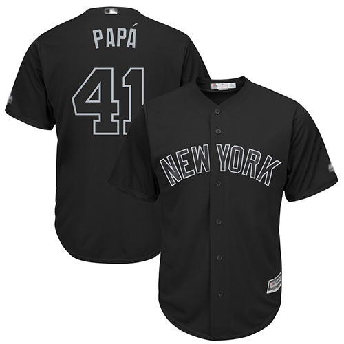 Yankees #41 Miguel Andujar Black PAPA Players Weekend Cool Base Stitched Baseball Jersey
