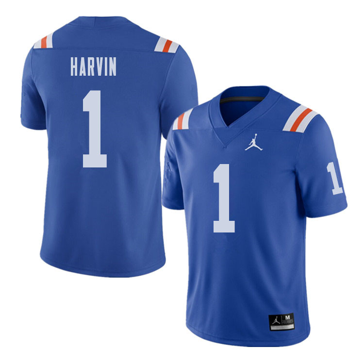 Florida Gators 1 Percy Harvin Blue Throwback College Football Jersey