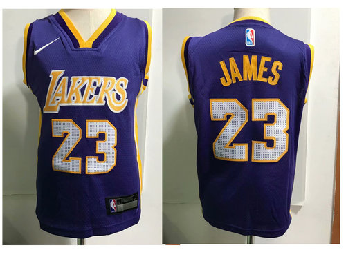 brand new 8a276 c078b Los Angeles Lakers #23 LeBron James Purple Toddlers Jersey ...