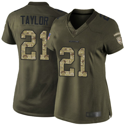 Redskins #21 Sean Taylor Green Women's Stitched Football Limited 2015 Salute to Service Jersey