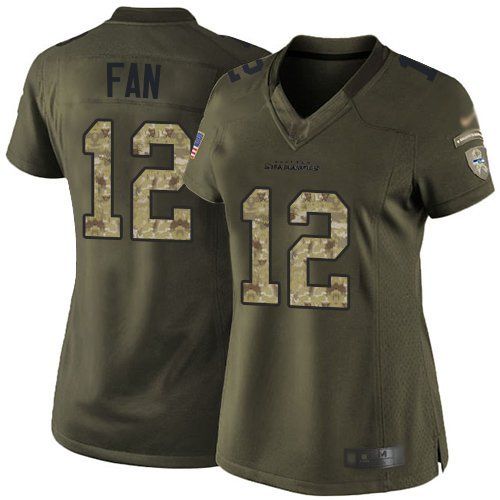 Seahawks #12 Fan Green Women's Stitched Football Limited 2015 Salute to Service Jersey