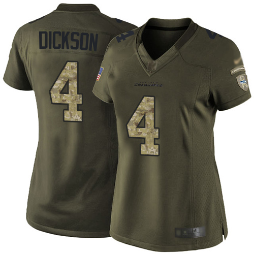 Seahawks #4 Michael Dickson Green Women's Stitched Football Limited 2015 Salute to Service Jersey