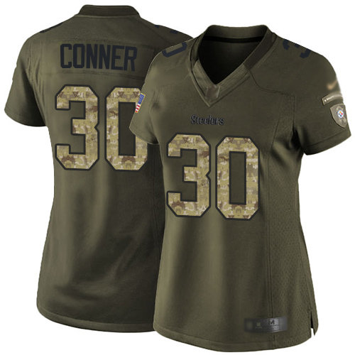 Steelers #30 James Conner Green Women's Stitched Football Limited 2015 Salute to Service Jersey