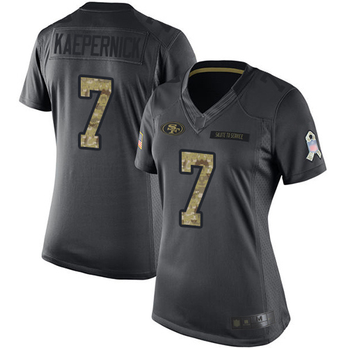 49ers #7 Colin Kaepernick Black Women's Stitched Football Limited 2016 Salute to Service Jersey