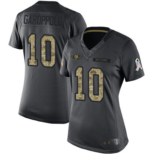 49ers #10 Jimmy Garoppolo Black Women's Stitched Football Limited 2016 Salute to Service Jersey