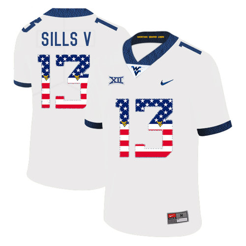 West Virginia Mountaineers 13 David Sills V White USA Flag College Football Jersey