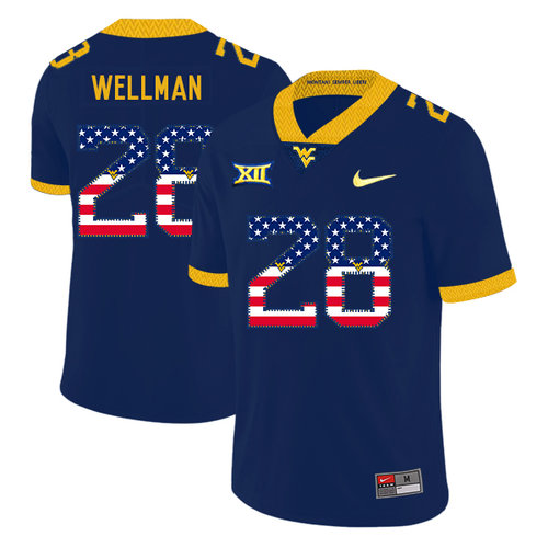 West Virginia Mountaineers 28 Elijah Wellman Navy USA Flag College Football Jersey