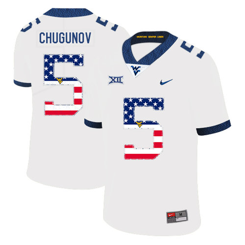 West Virginia Mountaineers 5 Chris Chugunov White USA Flag College Football Jersey