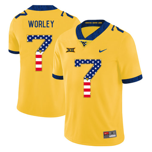 West Virginia Mountaineers 7 Daryl Worley Yellow USA Flag College Football Jersey