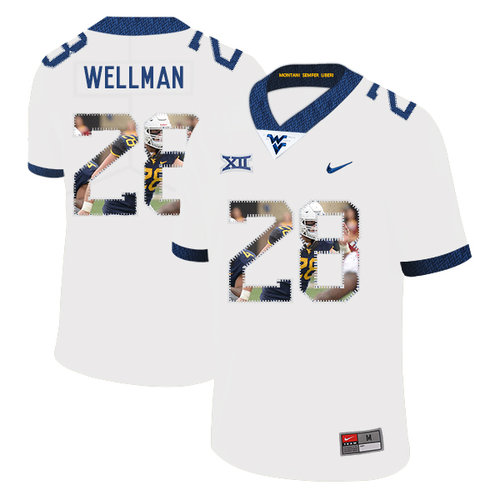 West Virginia Mountaineers 28 Elijah Wellman White Fashion College Football Jersey