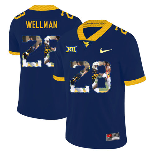 West Virginia Mountaineers 28 Elijah Wellman Navy Fashion College Football Jersey