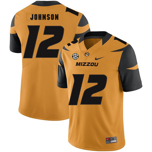 Missouri Tigers 12 Johnathon Johnson Gold Nike College Football Jersey