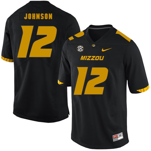 Missouri Tigers 12 Johnathon Johnson Black Nike College Football Jersey