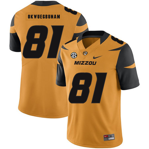 Missouri Tigers 81 Albert Okwuegbunam Gold Nike College Football Jersey
