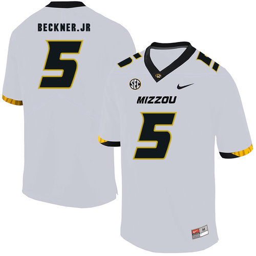 Missouri Tigers 5 Terry Beckne Jr. White Nike College Football Jersey