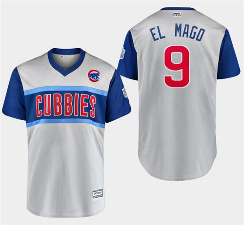 Men's Chicago Cubs 9 Javier Baez El Mago Gray 2019 MLB Little League Classic Player Jersey