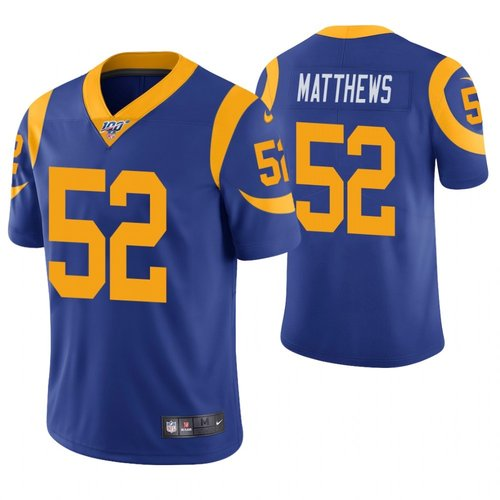 Nike Rams 52 Clay Matthews Royal 100th Season Vapor Untouchable Limited Jersey