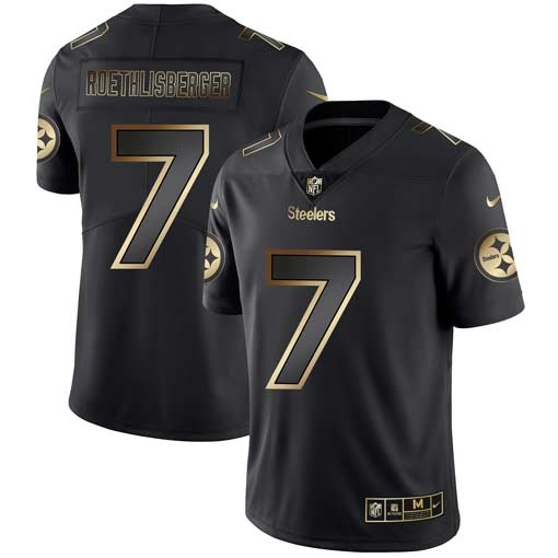 Nike Steelers 7 Ben Roethlisberger Black Gold Vapor Untouchable Limited Jersey