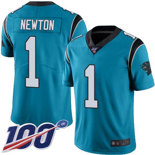 Panthers #1 Cam Newton Blue Alternate Men's Stitched Football 100th Season Vapor Limited Jersey