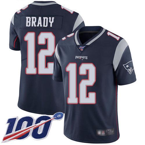 Patriots #12 Tom Brady Navy Blue Team Color Men's Stitched Football 100th Season Vapor Limited Jersey