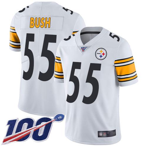 Steelers #55 Devin Bush White Men's Stitched Football 100th Season Vapor Limited Jersey