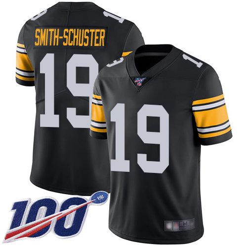 Steelers #19 JuJu Smith-Schuster Black Alternate Men's Stitched Football 100th Season Vapor Limited Jersey
