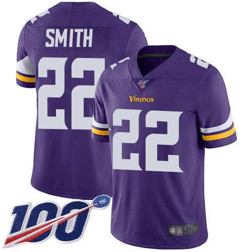 Vikings #22 Harrison Smith Purple Team Color Men's Stitched Football 100th Season Vapor Limited Jersey